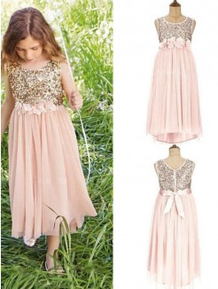 A-Line/Princess Sleeveless Tea-Length Scoop Sequin Chiffon Flower Girl Dress
