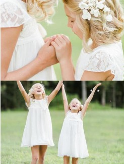 A-Line/Princess Short Sleeves Scoop Knee-Length Lace Chiffon Flower Girl Dress
