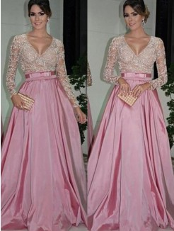 A-Line/Princess V-neck Long Sleeves Floor-Length Lace Satin Dresses