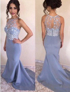 Trumpet/Mermaid Sweep/Brush Train Sleeveless Jewel Crystal Satin Dresses