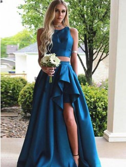A-Line/Princess Sweep/Brush Train Sleeveless Scoop Ruffles Satin Two Piece Dresses