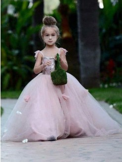 Ball Gown Sleeveless Spaghetti Straps Sweep/Brush Train Tulle Flower Girl Dress