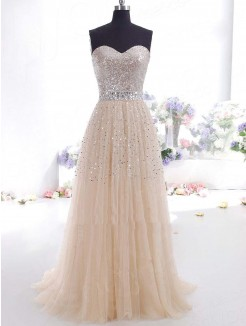 Sweetheart  A-Line/Princess Sleeveless Beading Chiffon Long Prom Dress