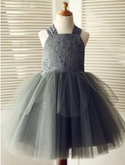 A-Line/Princess Knee-Length Straps Lace Sleeveless Tulle Flower Girl Dresses
