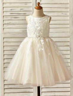 A-Line/Princess Knee-Length Scoop Lace Sleeveless Tulle Flower Girl Dresses