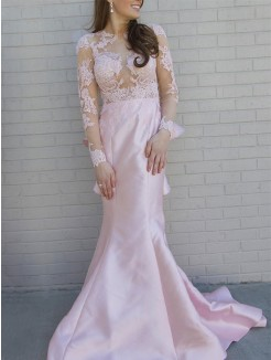 Trumpet/Mermaid Scoop Long Sleeves Applique Satin Sweep/Brush Train Dress
