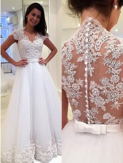A-Line/Princess V-neck Sleeveless Floor-Length Applique Tulle Wedding Dress