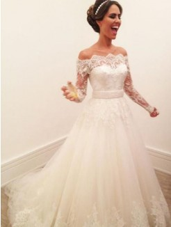 A-Line/Princess Off-the-Shoulder Long Sleeves Sweep/Brush Train Lace Tulle Wedding Dress