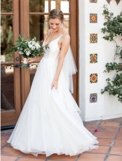 A-Line/Princess V-neck Sleeveless Sweep/Brush Train Ruffles Tulle Wedding Dress