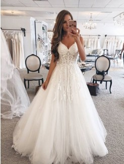 A-Line/Princess Sweetheart Sleeveless Lace Tulle Floor-Length Wedding Dress