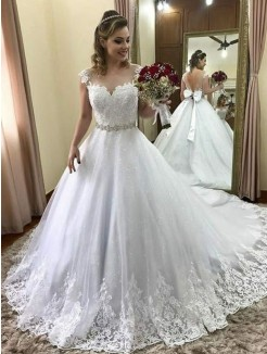 Ball Gown Sweetheart Sleeveless Beading Tulle Court Train Wedding Dress