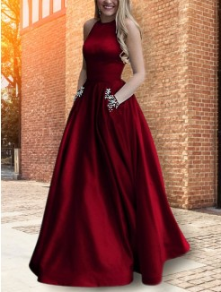 A-Line/Princess Halter Sleeveless Floor-Length Beading Satin Dress