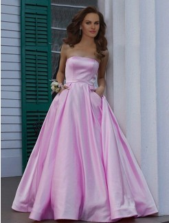 A-Line/Princess Strapless Sleeveless Floor-Length Ruffles Satin Dress