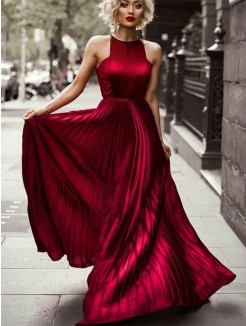 A-Line/Princess Halter Sleeveless Floor-Length Ruched Silk like Satin Dress