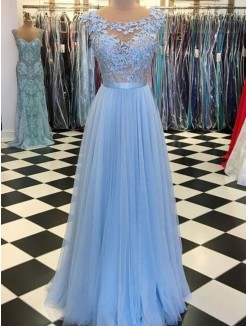 A-Line/Princess Scoop Sleeveless Floor-Length Applique Tulle Dress