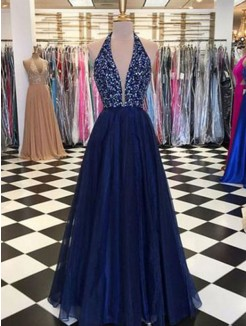 A-Line/Princess Halter Sleeveless Floor-Length Beading Tulle Dress