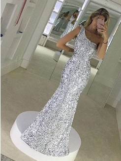 Sheath/Column One-Shoulder Sleeveless Floor-Length Ruffles Sequins Dress