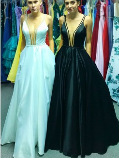 A-Line/Princess V-neck Sleeveless Floor-Length Ruffles Satin Dress
