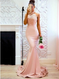 Trumpet/Mermaid Sleeveless Sweep/Brush Train Halter Lace Satin Dress