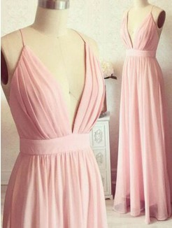 A-Line/Princess Sleeveless Spaghetti Straps Floor-Length Chiffon Dress