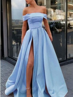 A-Line/Princess Sleeveless Off-the-Shoulder Ruffles Satin Sweep/Brush Train Dress