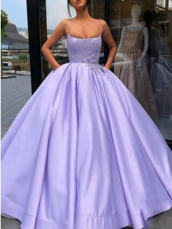 Ball Gown Satin Applique Spaghetti Straps Sleeveless Floor-Length Dress