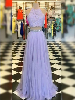 A-Line/Princess Tulle Lace Halter Sleeveless Floor-Length Two Piece Dress