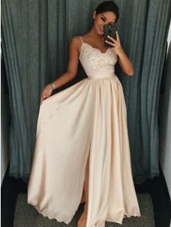 A-Line/Princess Sleeveless Spaghetti Straps Floor-Length Applique Silk like Satin Dress