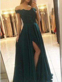 A-Line/Princess Off-the-Shoulder Sleeveless Floor-Length Beading Chiffon Dress
