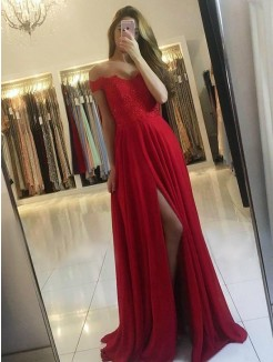 A-Line/Princess Off-the-Shoulder Sleeveless Sweep/Brush Train Beading Chiffon Dress