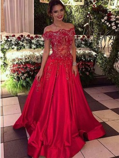 Ball Gown Off-the-Shoulder Sleeveless Beading Satin Sweep/Brush Train Dress