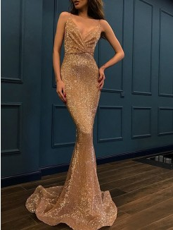 Trumpet/Mermaid Sleeveless Spaghetti Straps Sweep/Brush Train Sequins Dresses