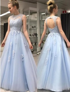 A-Line/Princess Sleeveless Sheer Neck Applique Floor-Length Tulle Dresses