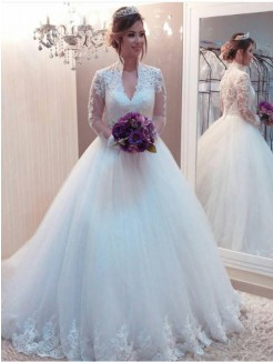 Ball Gown Tulle Applique High Neck Long Sleeves Sweep/Brush Train Wedding Dresses