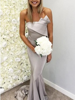 Trumpet/Mermaid Satin Ruffles Strapless Sleeveless Sweep/Brush Train Bridesmaid Dresses