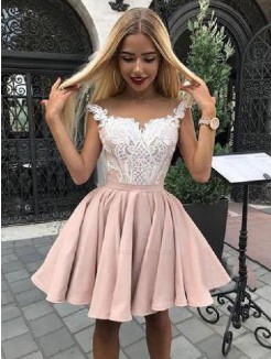A-Line/Princess Satin Applique Off-the-Shoulder Sleeveless Short/Mini Dresses