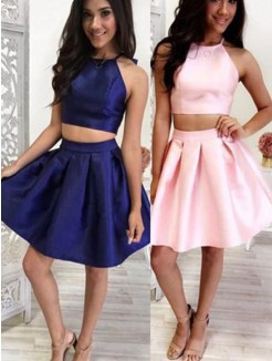 A-Line/Princess Satin Ruffles Halter Sleeveless Short/Mini Two Piece Dresses