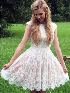 A-Line/Princess Lace Pearls Sheer Neck Sleeveless Short/Mini Dresses