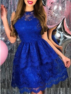 A-Line/Princess Lace Applique Sheer Neck Sleeveless Short/Mini Dresses