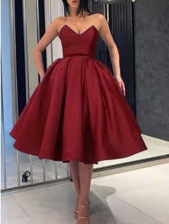 Ball Gown Satin Ruffles Sweetheart Sleeveless Knee-Length Short Dresses