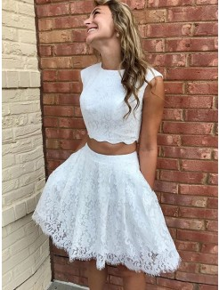 A-Line/Princess Lace Lace Sleeveless Scoop Short/Mini Dresses