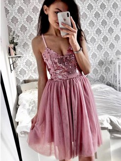 A-Line/Princess Tulle Sequin Spaghetti Straps Sleeveless Short/Mini Dresses