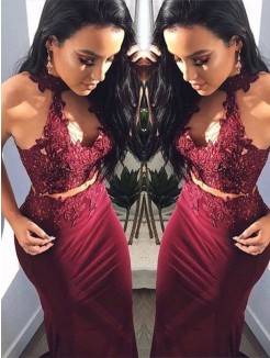 Sheath/Column Applique Halter Sleeveless Long Spandex Two Piece Dresses