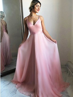 A-Line/Princess Chiffon Ruffles Sleeveless Sweep/Brush Train Dresses