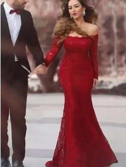 Trumpet/Mermaid Off-the-Shoulder Long Sleeves Floor-Length Ruffles Lace Dresses