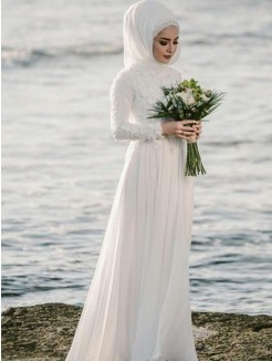 Floor-Length A-Line/Princess Jewel Long Sleeves Chiffon Wedding Dresses
