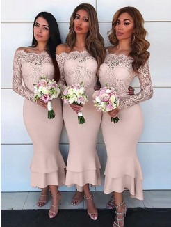 Ankle-Length Sheath/Column Off-the-Shoulder Long Sleeves Chiffon Bridesmaid Dresses