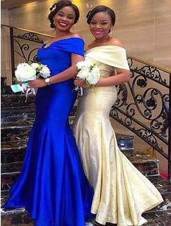 Floor-Length Trumpet/Mermaid Sleeveless Off-the-Shoulder Satin Bridesmaid Dresses