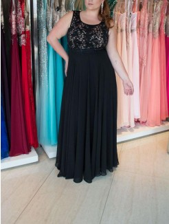 A-Line/Princess Straps Sleeveless Lace Floor-Length Chiffon Plus Size Dresses