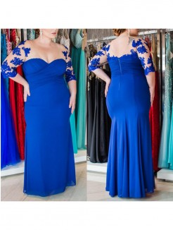 Sheath/Column Sweetheart 1/2 Sleeves Applique Floor-Length Chiffon Plus Size Dresses